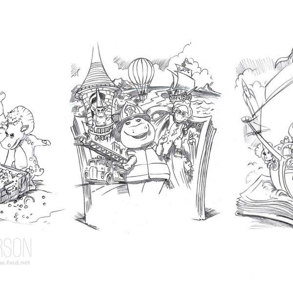 Barney Illustration Concept sketches