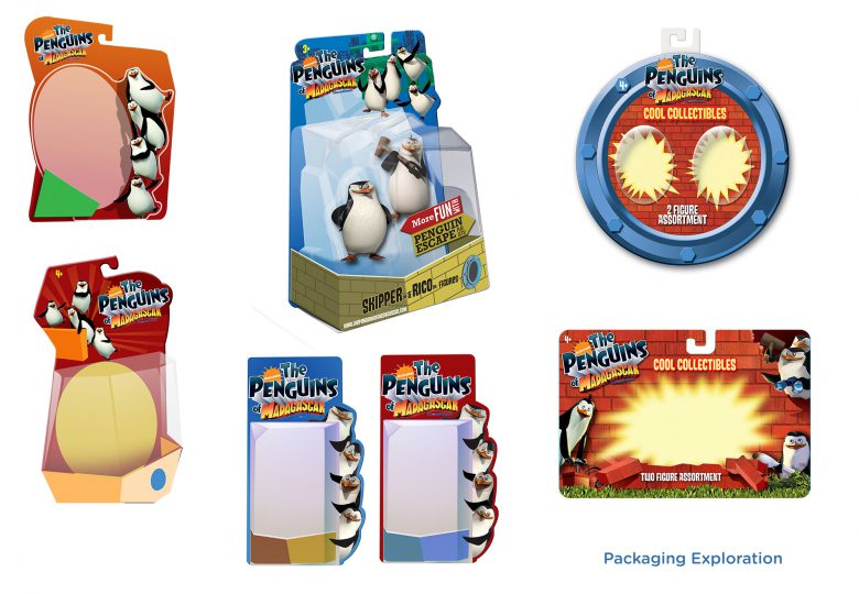 Packaging studies for Pengiuns of Madagascar toy packaging
