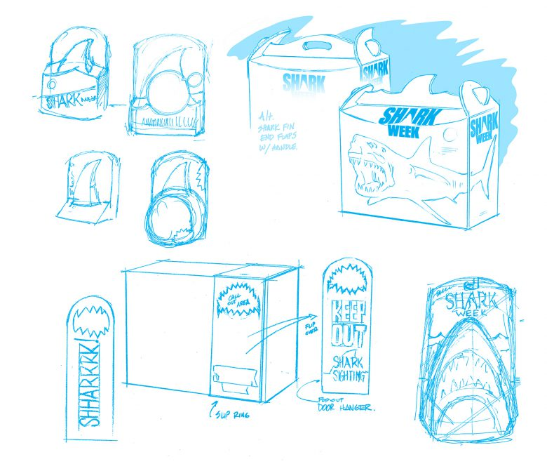 Packaging concepts for Shark Week tie in packaging.
