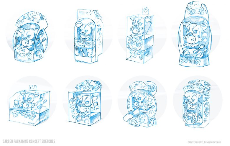 Packaging concept studies for mini doll project
