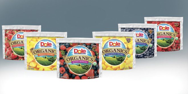 Dole Organics frozen Fruit packaging digital painting.