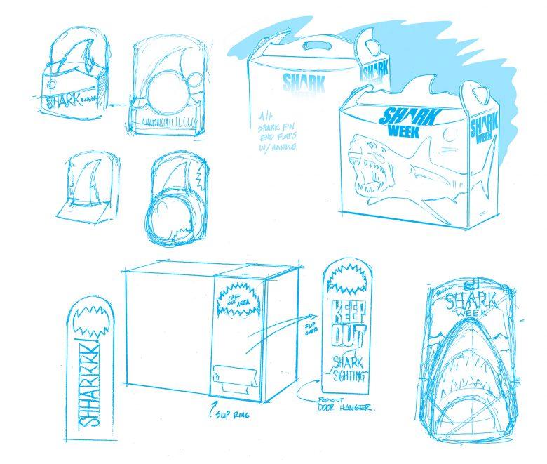 Packaging concepts for Shark Week tie in packaging.