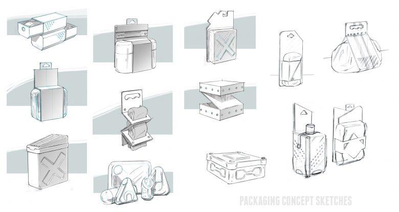 packaging Form studies for Hot Wheels licensed Packaging